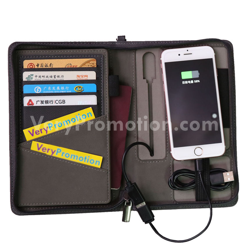 card organizer with built-in power bank