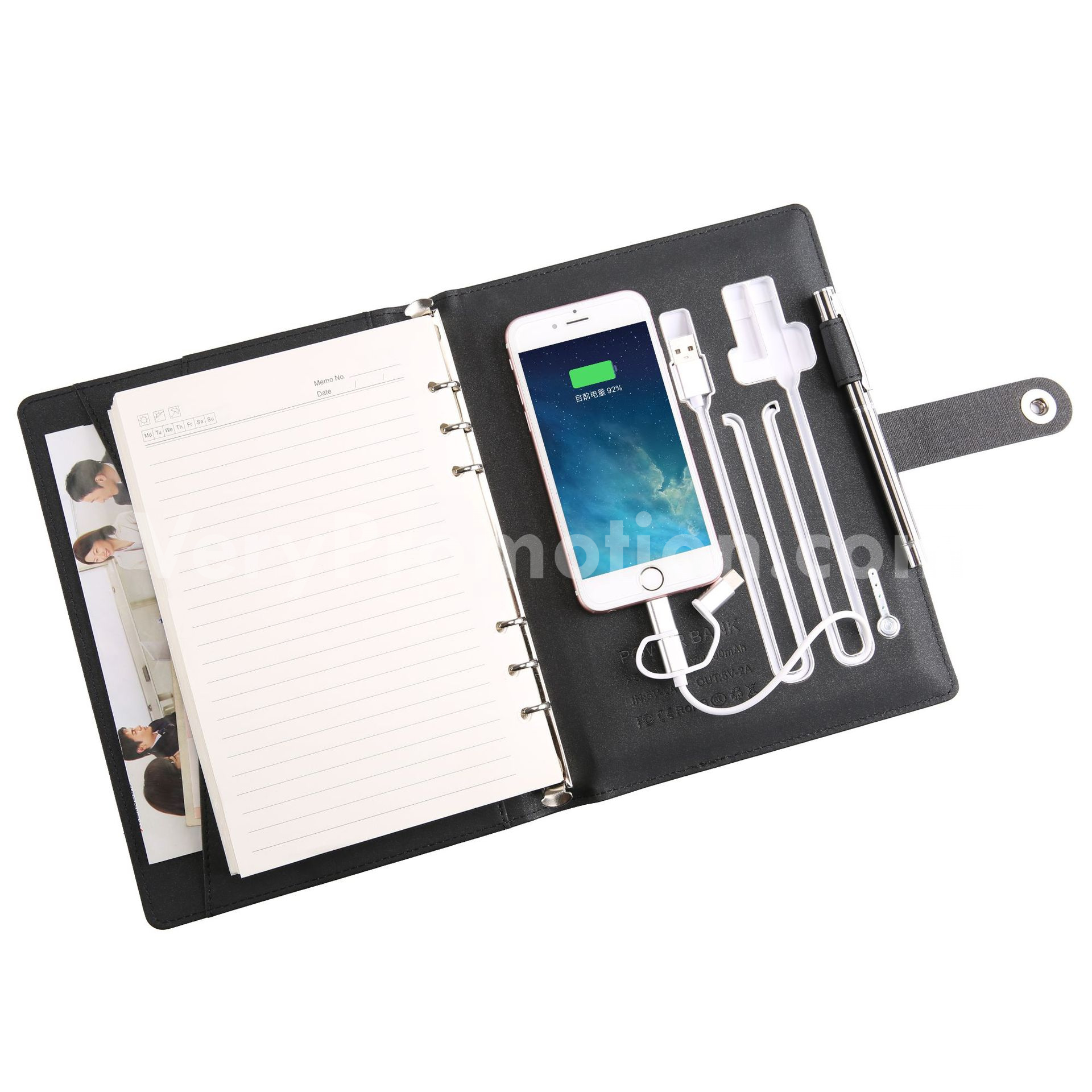 notebook with wireless power bank